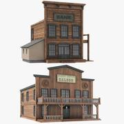 Två västra västra byggnad 3d model