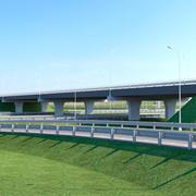 道路および高速道路の建設。高速道路での交差点の交差点 3d model
