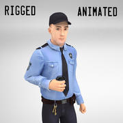 Security Guard Rigged Animated Walkcycle 3d model
