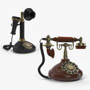 Coleção de modelos 3D de telefones rotativos 3d model