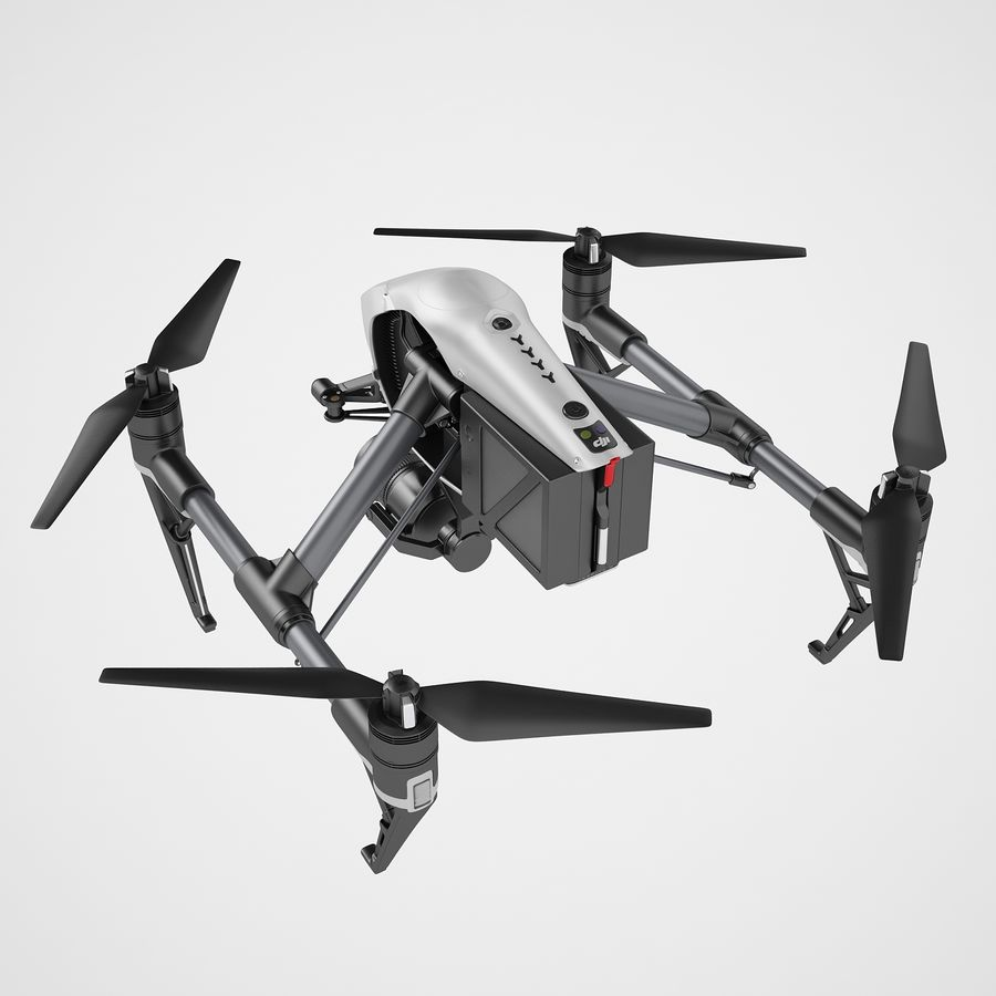 DJI Inspire 2 royalty-free 3d model - Preview no. 11