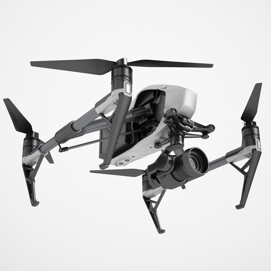 DJI Inspire 2 royalty-free 3d model - Preview no. 2