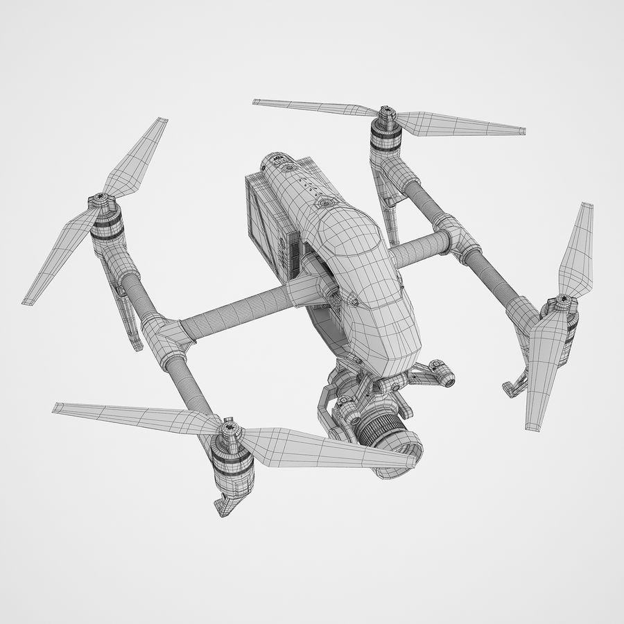 DJI Inspire 2 royalty-free 3d model - Preview no. 8