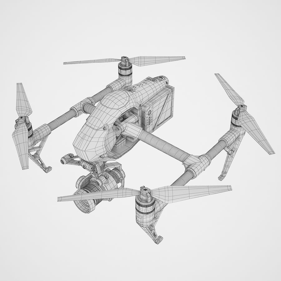 DJI Inspire 2 royalty-free 3d model - Preview no. 10