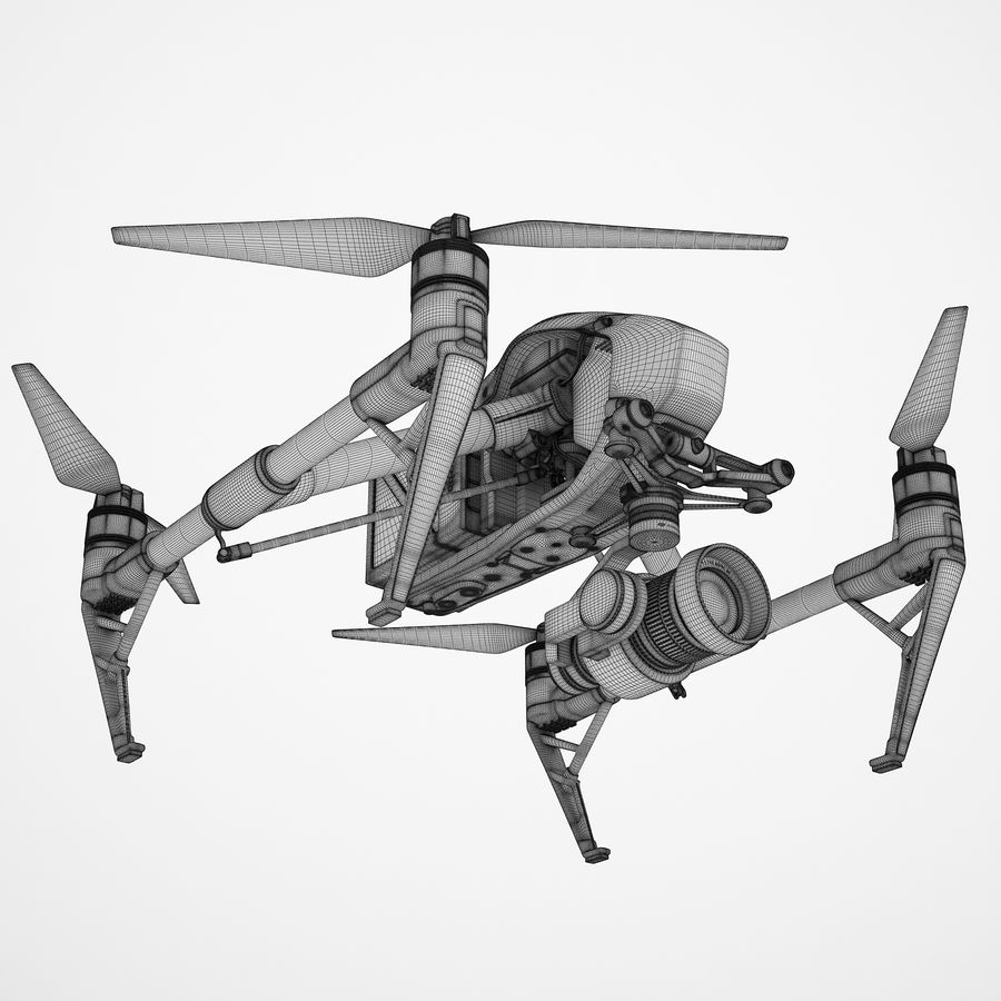 DJI Inspire 2 royalty-free 3d model - Preview no. 3