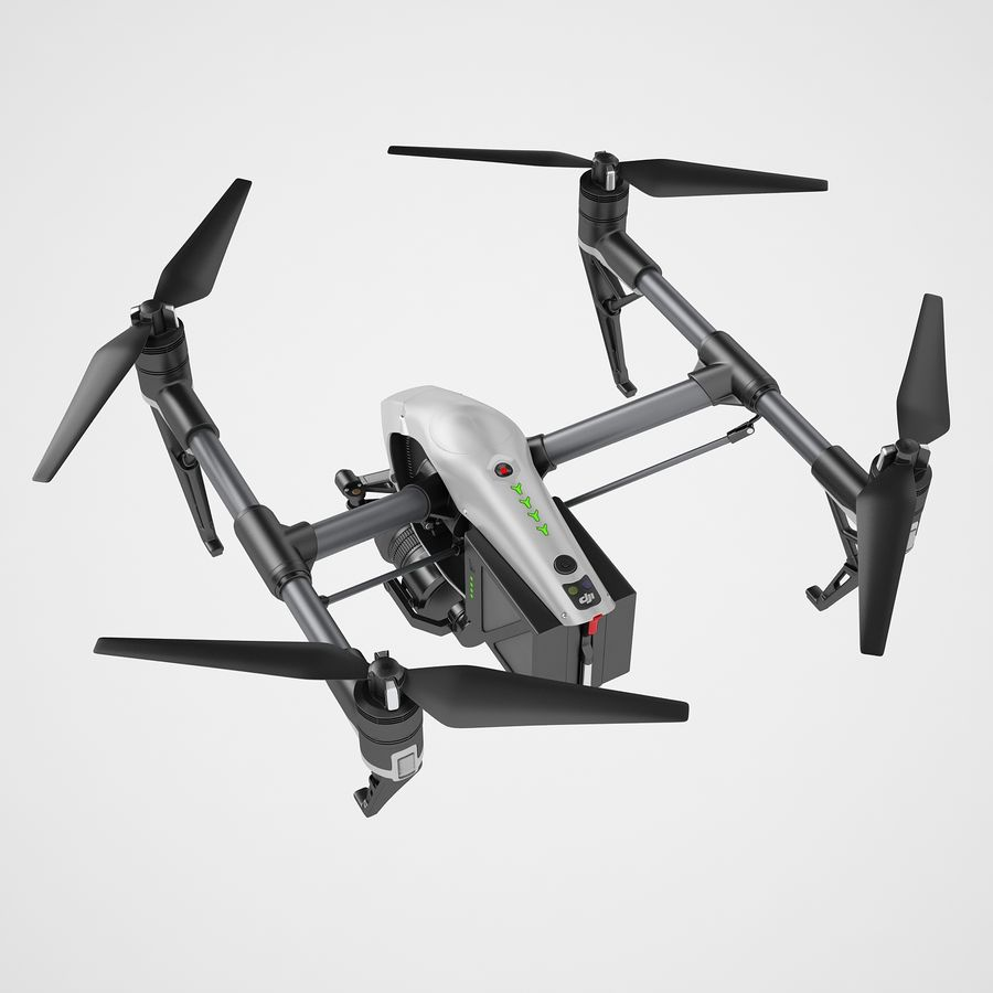 DJI Inspire 2 Fly royalty-free 3d model - Preview no. 11