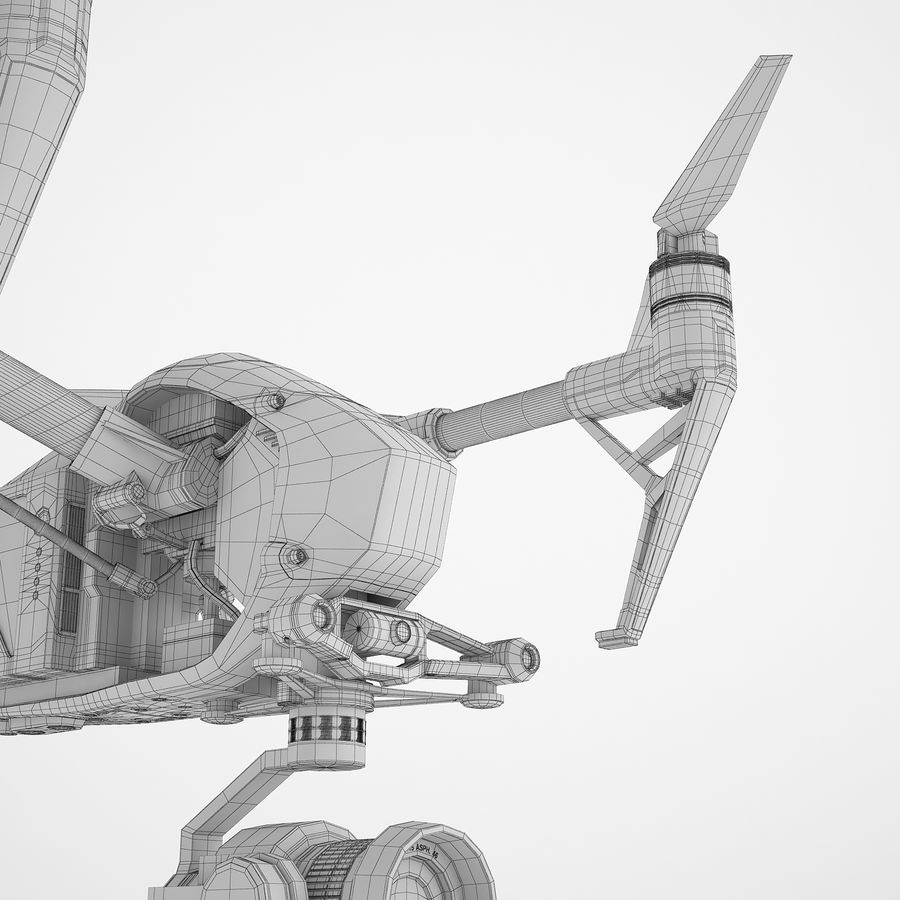 DJI Inspire 2 Fly royalty-free 3d model - Preview no. 20