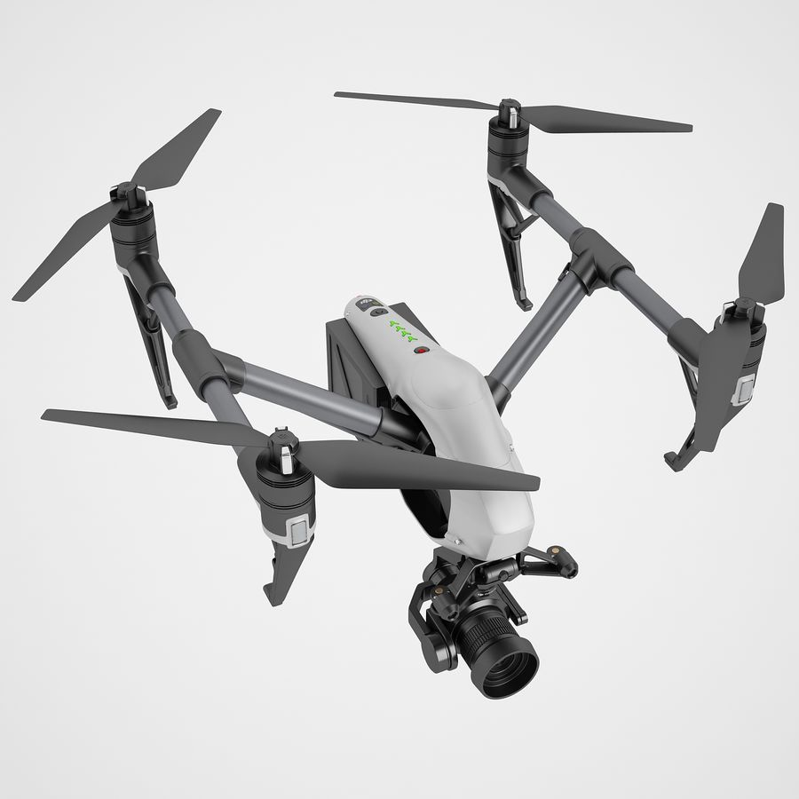 DJI Inspire 2 Fly royalty-free 3d model - Preview no. 7