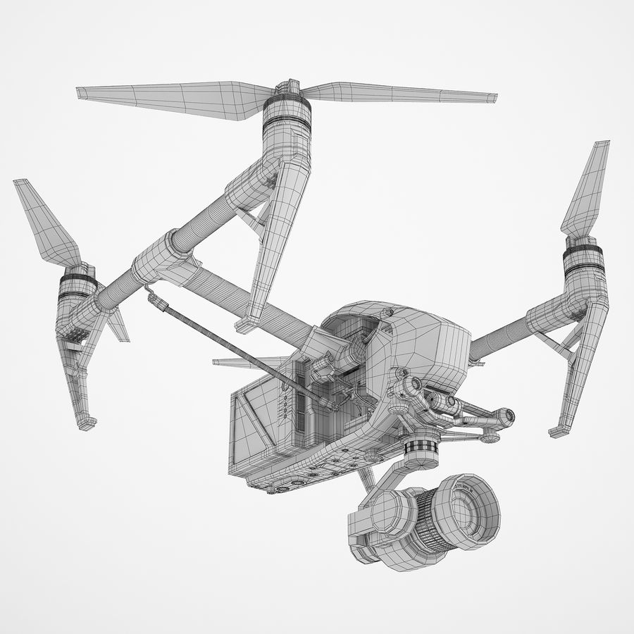 DJI Inspire 2 Fly royalty-free 3d model - Preview no. 4