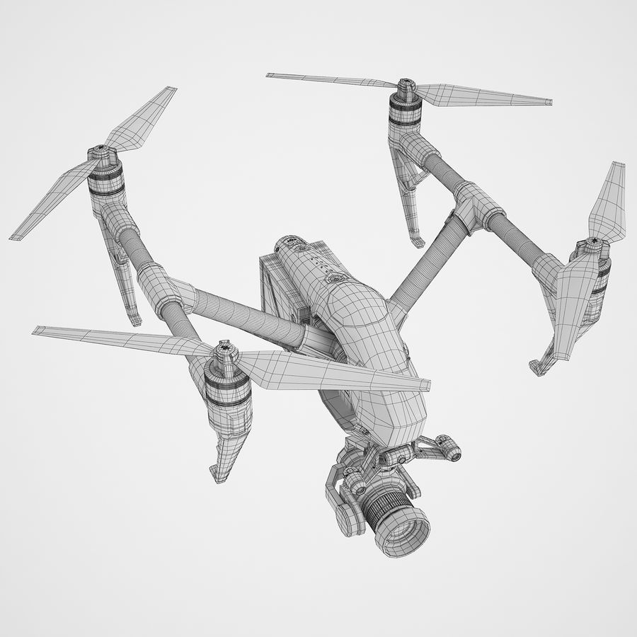 DJI Inspire 2 Fly royalty-free 3d model - Preview no. 8