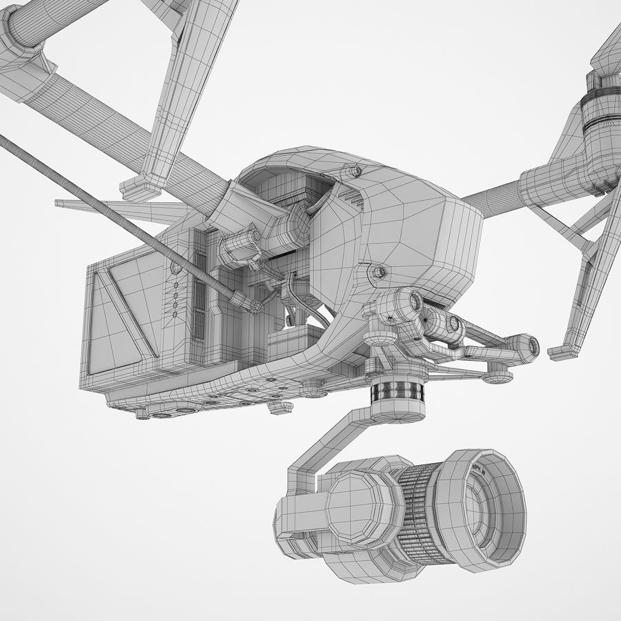 DJI Inspire 2 Fly royalty-free 3d model - Preview no. 16