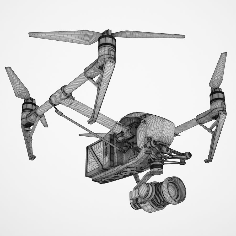 DJI Inspire 2 Fly royalty-free 3d model - Preview no. 3