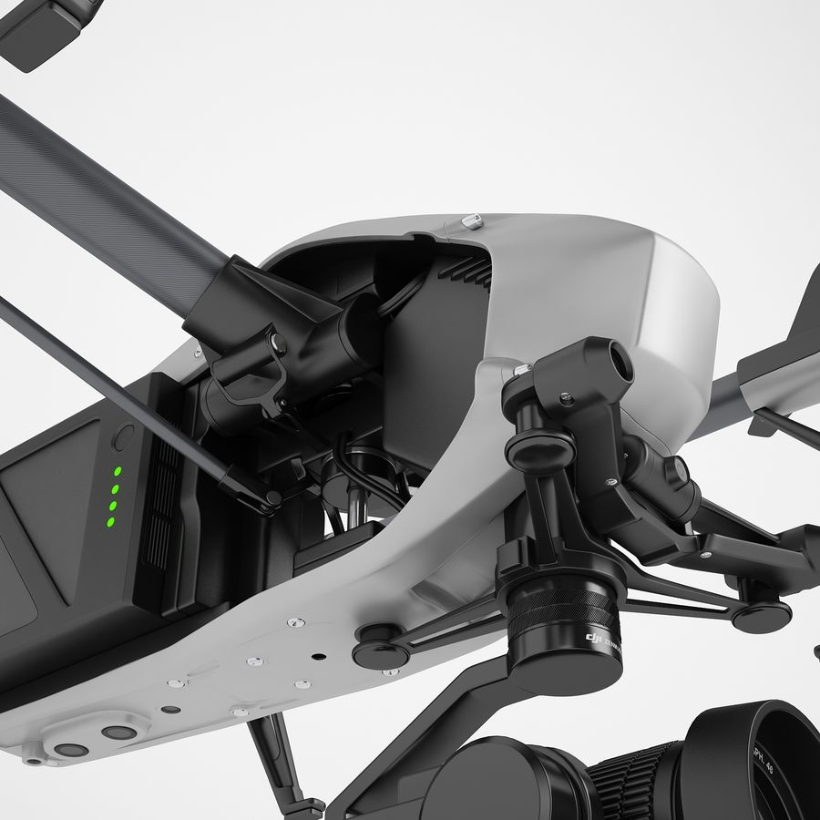 DJI Inspire 2 Fly royalty-free 3d model - Preview no. 31