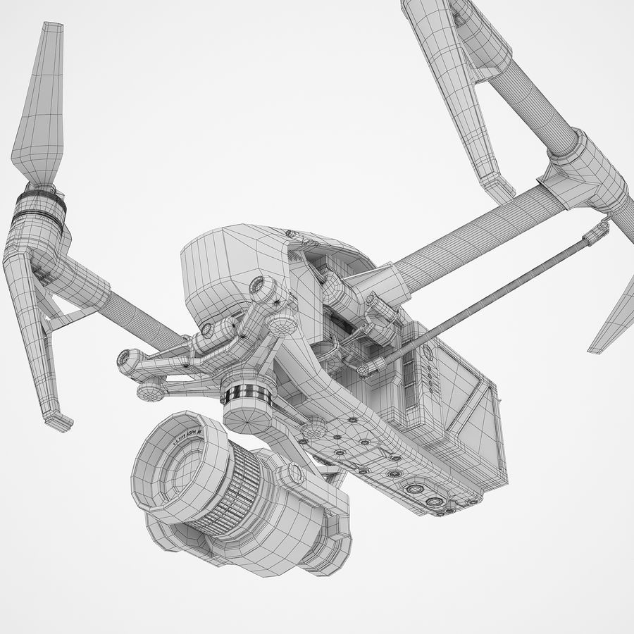 DJI Inspire 2 Fly royalty-free 3d model - Preview no. 22