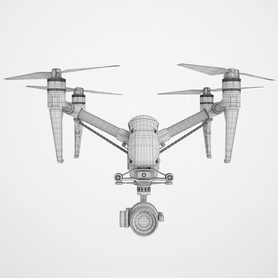 DJI Inspire 2 Fly royalty-free 3d model - Preview no. 6