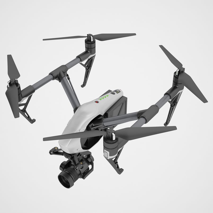 DJI Inspire 2 Fly royalty-free 3d model - Preview no. 9