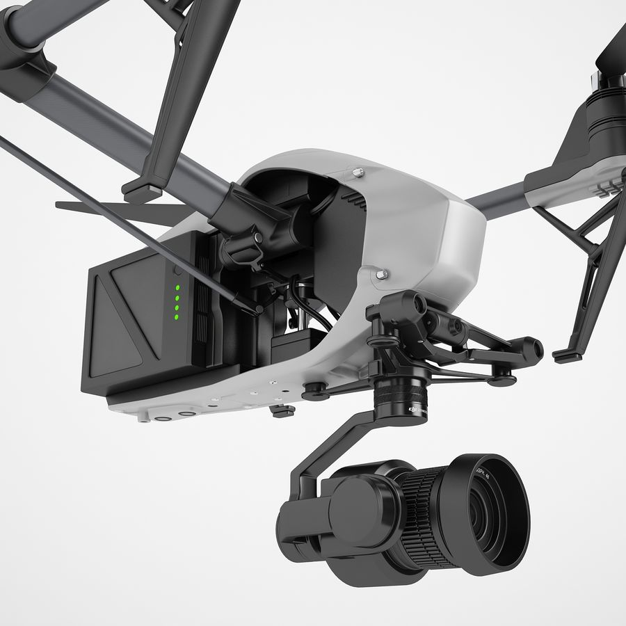 DJI Inspire 2 Fly royalty-free 3d model - Preview no. 15