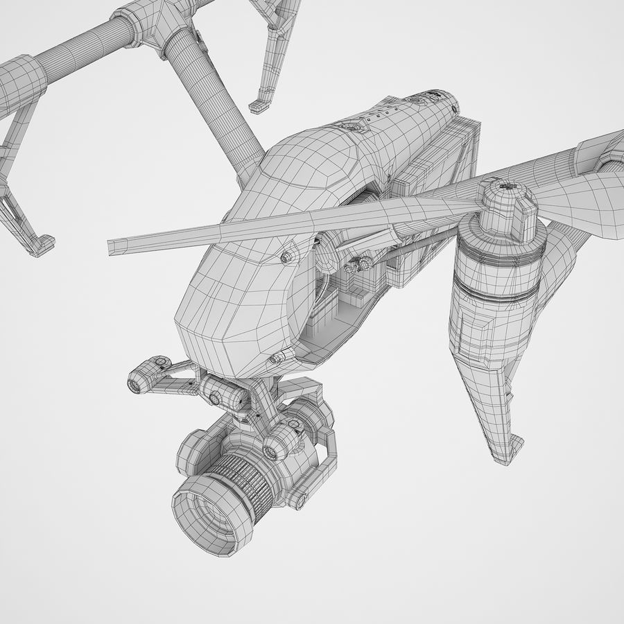 DJI Inspire 2 Fly royalty-free 3d model - Preview no. 24