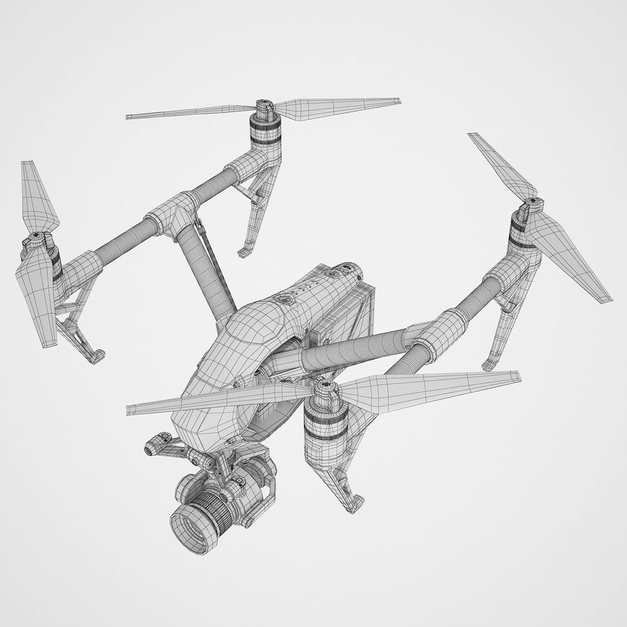 DJI Inspire 2 Fly royalty-free 3d model - Preview no. 10