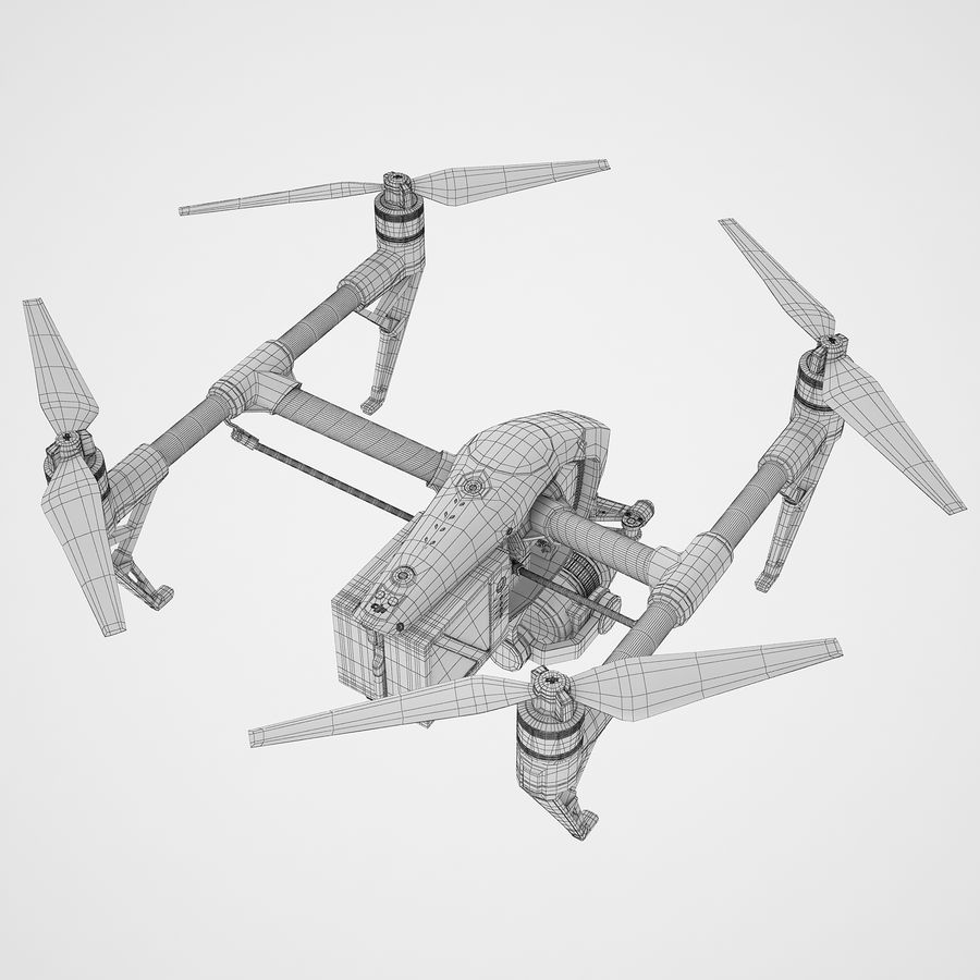 DJI Inspire 2 Fly royalty-free 3d model - Preview no. 14