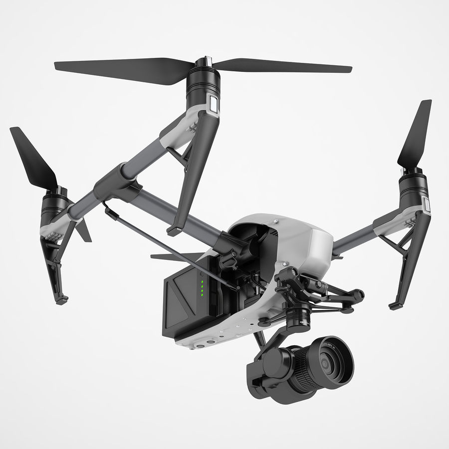 DJI Inspire 2 Fly royalty-free 3d model - Preview no. 2