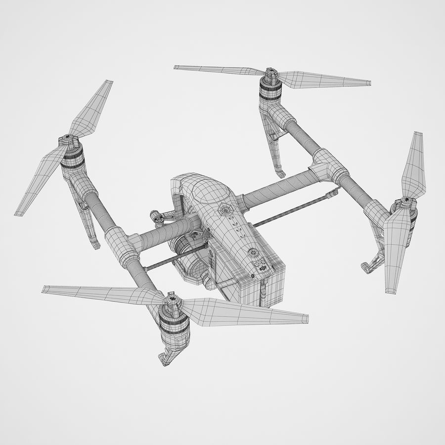 DJI Inspire 2 Fly royalty-free 3d model - Preview no. 12