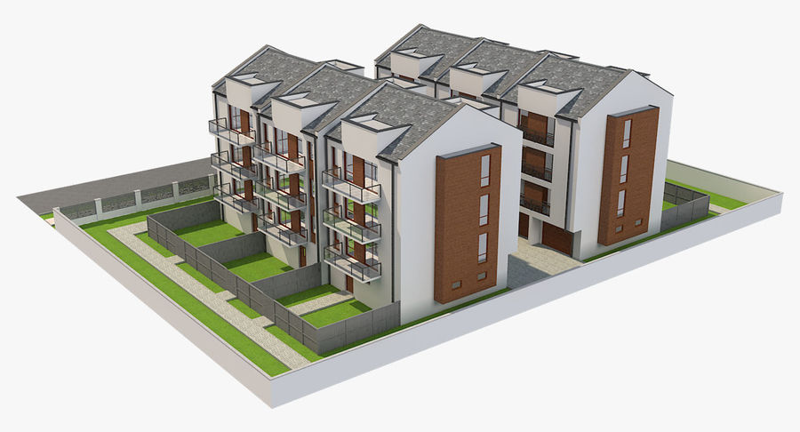Apartment Buildings Block 2 royalty-free 3d model - Preview no. 5