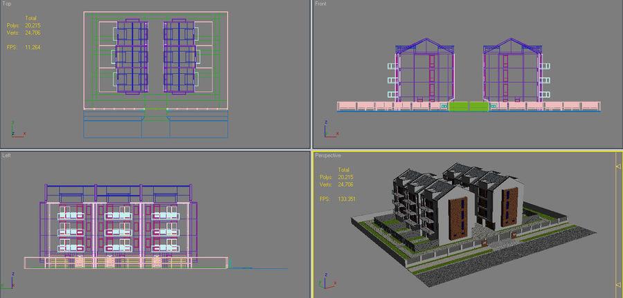 Apartment Buildings Block 2 royalty-free 3d model - Preview no. 18