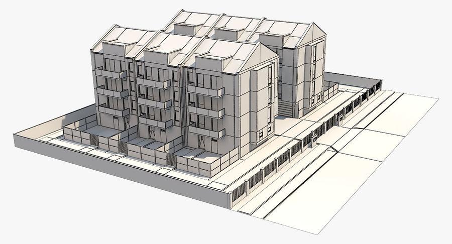Apartment Buildings Block 2 royalty-free 3d model - Preview no. 10