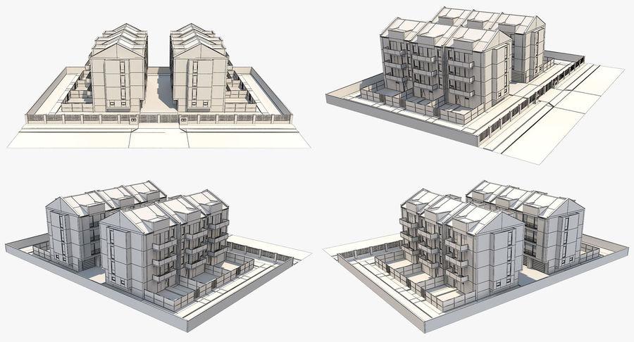 Apartment Buildings Block 2 royalty-free 3d model - Preview no. 15