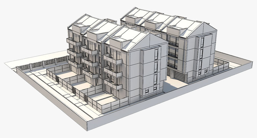 Apartment Buildings Block 2 royalty-free 3d model - Preview no. 13