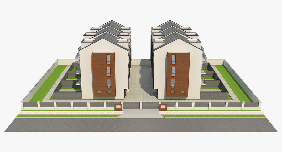 Apartment Buildings Block 2 royalty-free 3d model - Preview no. 7