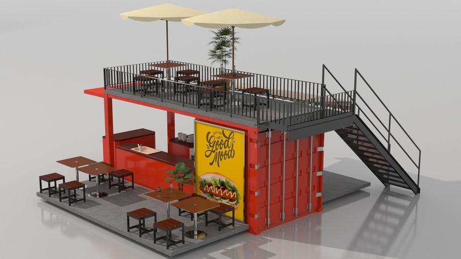 Container Fast Food Restaurant royalty-free 3d model - Preview no. 5