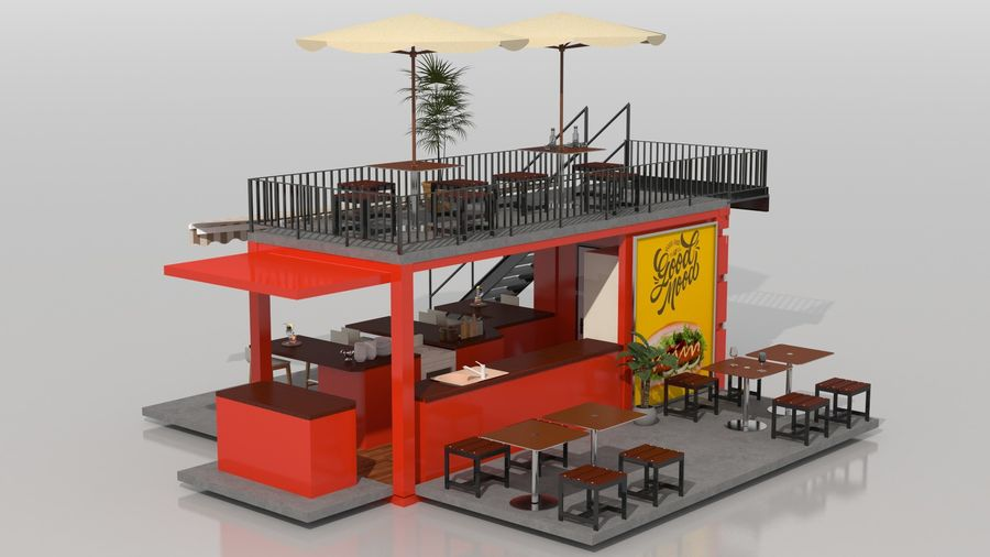 Container Fast Food Restaurant royalty-free 3d model - Preview no. 6