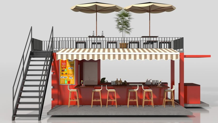 Container Fast Food Restaurant royalty-free 3d model - Preview no. 7