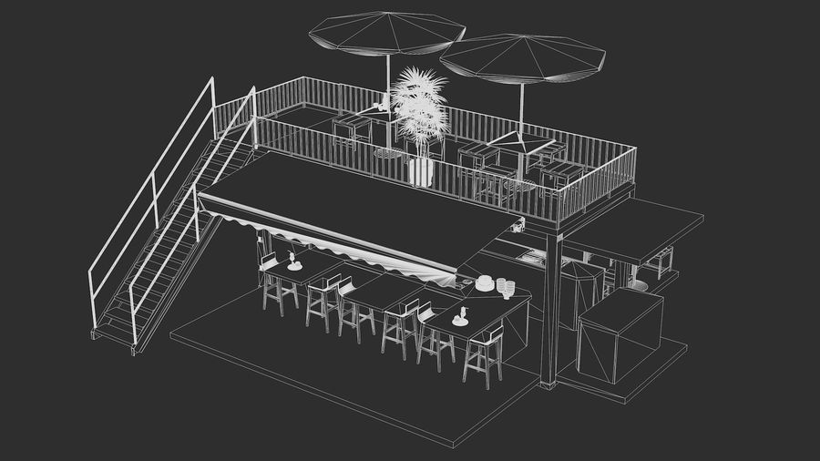 Container Fast Food Restaurant royalty-free 3d model - Preview no. 18