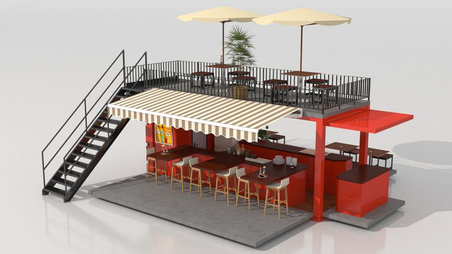 Container Fast Food Restaurant royalty-free 3d model - Preview no. 1