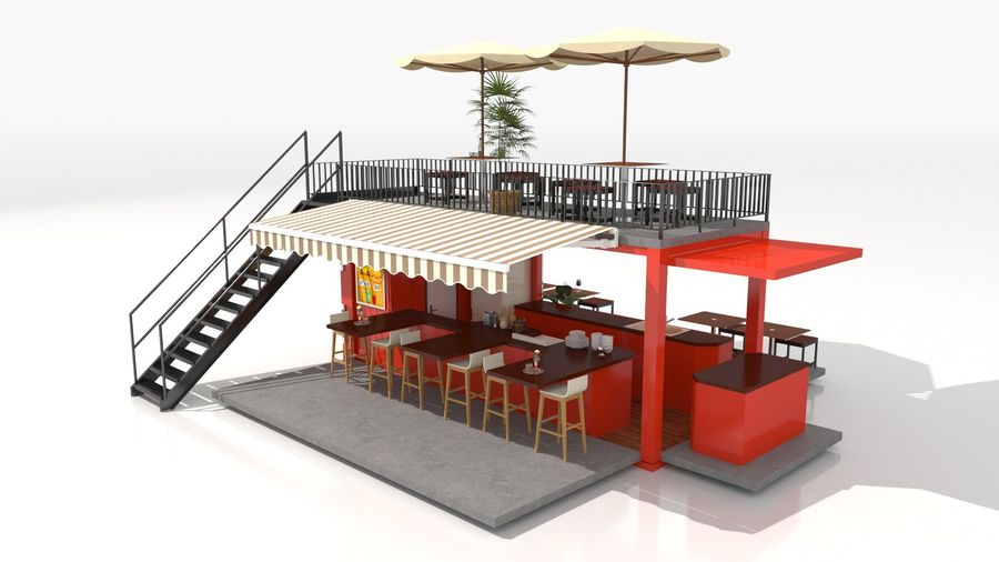 Container Fast Food Restaurant royalty-free 3d model - Preview no. 13