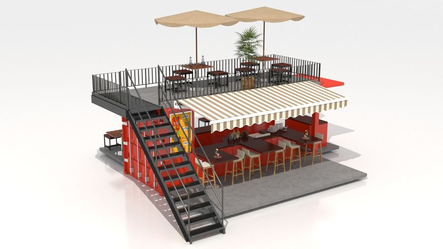 Container Fast Food Restaurant royalty-free 3d model - Preview no. 14
