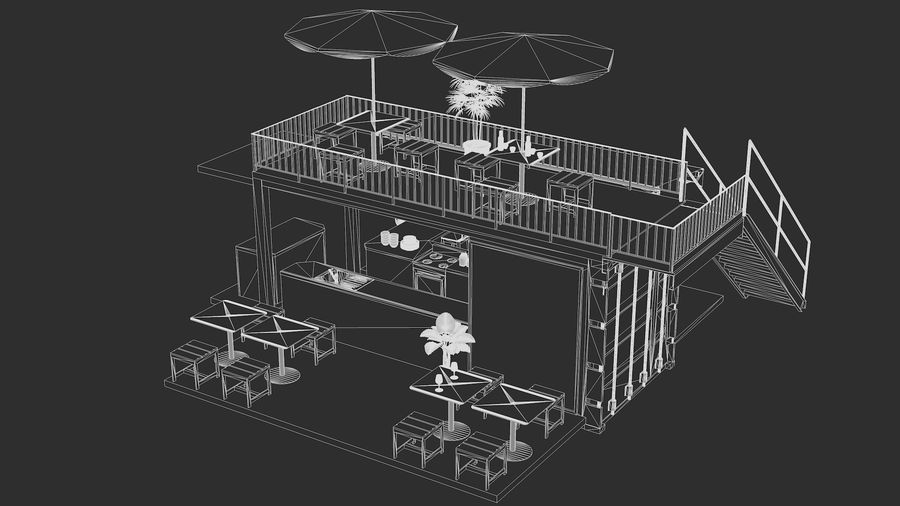 Container Fast Food Restaurant royalty-free 3d model - Preview no. 17