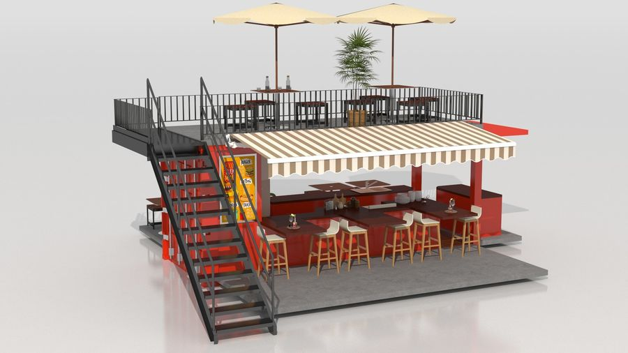 Container Fast Food Restaurant royalty-free 3d model - Preview no. 3