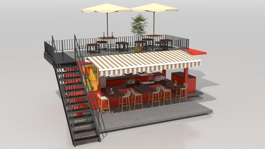 Container Fast Food Restaurant royalty-free 3d model - Preview no. 12