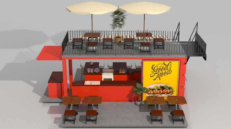 Container Fast Food Restaurant royalty-free 3d model - Preview no. 8