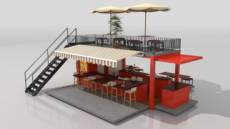 Container Fast Food Restaurant royalty-free 3d model - Preview no. 9