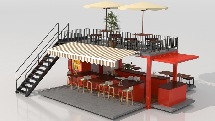 Container Fast Food Restaurant royalty-free 3d model - Preview no. 4