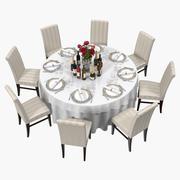 Okrągły stół z napojami Model 3D 3d model