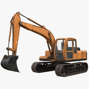 Rigged Excavator MidPoly 3d model