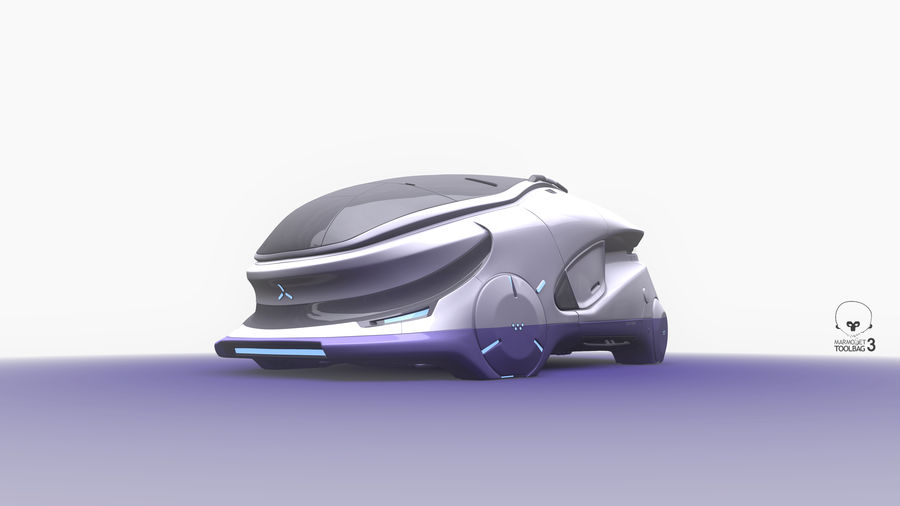 Concept cars sci-fi royalty-free 3d model - Preview no. 2