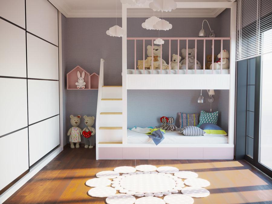 어린이 침실 02 royalty-free 3d model - Preview no. 2