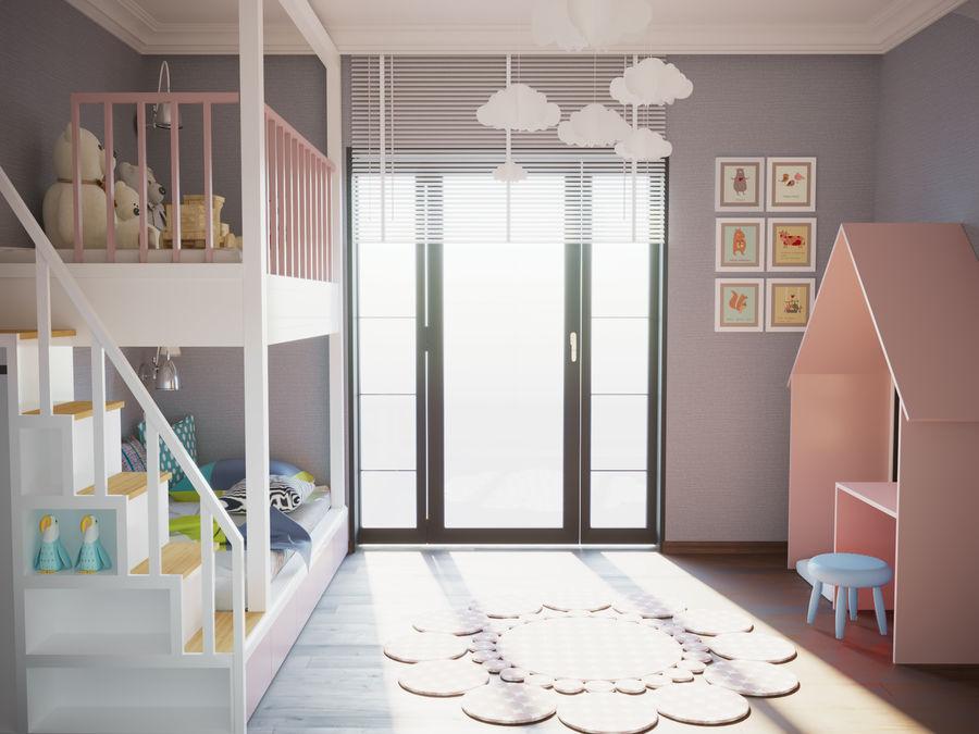 어린이 침실 02 royalty-free 3d model - Preview no. 1